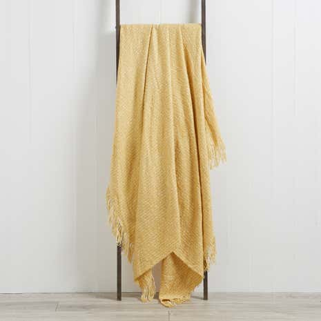 Natural Faux Mohair Throw