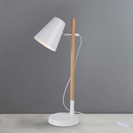 Harris White Wooden Desk Lamp