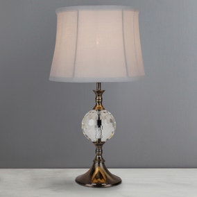 Lara Antique Brass Crystal Ball Table Lamp