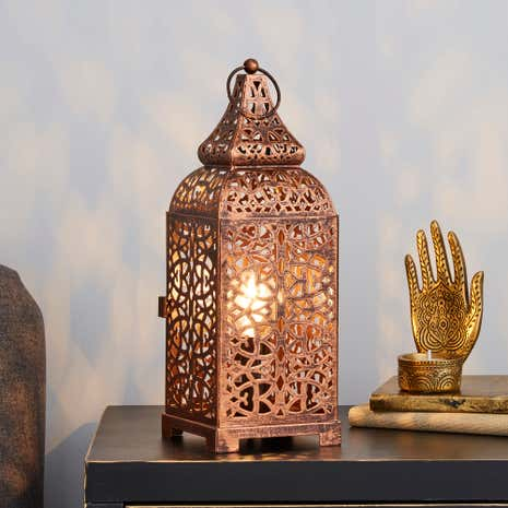 Moroccan copper lantern table lamp dunelm moroccan copper lantern table lamp mozeypictures Image collections