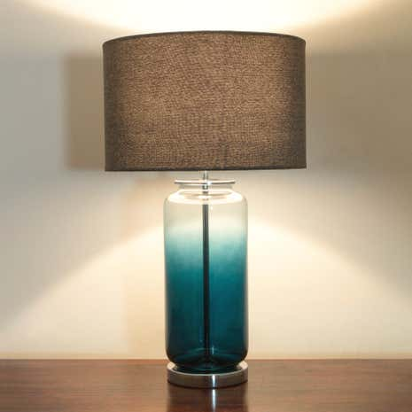 Teal Ombre Glass Table Lamp