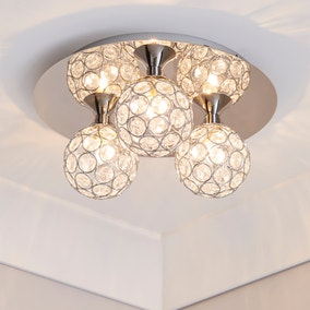 Sphere Chrome 3-Light Ceiling Fitting