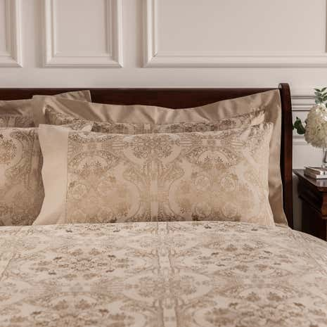 Dorma Medallion Gold Cuffed Pillowcase