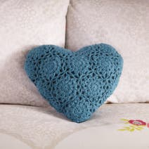 Teal Aubrey Heart Cushion