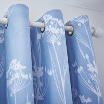 Bryony Blue Thermal Eyelet Curtains