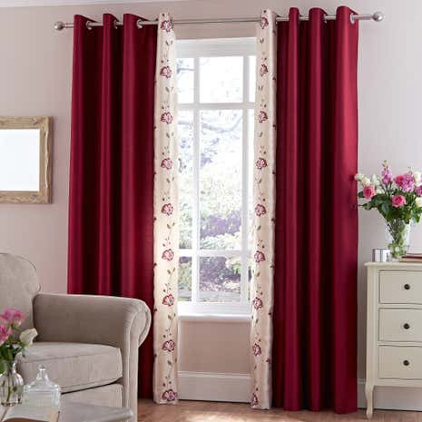 Catherine Red Thermal Eyelet Curtains