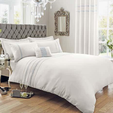 Diamante Stripe Silver Duvet Cover