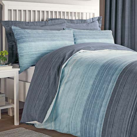 Halton Blue Duvet Cover and Pillowcase Set