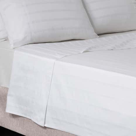 Hotel Herringbone 300 Thread Count White Flat Sheet