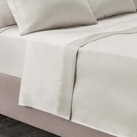 Hotel Pintuck 300 Thread Count Taupe Flat Sheet