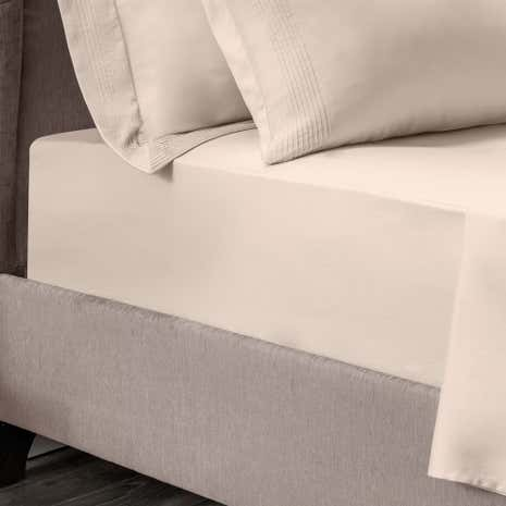 Hotel Pintuck 300 Thread Count Taupe 28cm Fitted Sheet