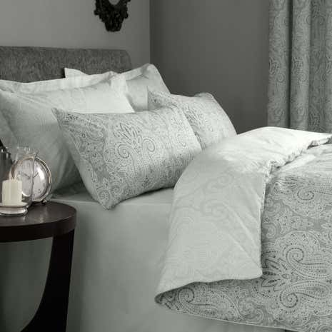 India Grey Duvet Cover and Pillowcase Set