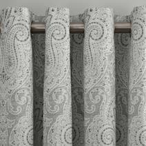 India Grey Lined Eyelet Curtain