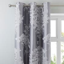 Laura Grey Jacquard Thermal Eyelet Curtains