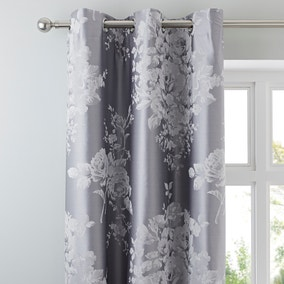 Laura Jacquard Grey Thermal Eyelet Curtains