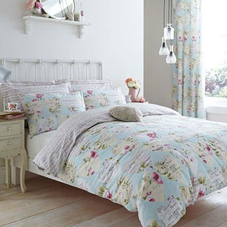 Melody Duck Egg Duvet Cover and Pillowcase Set