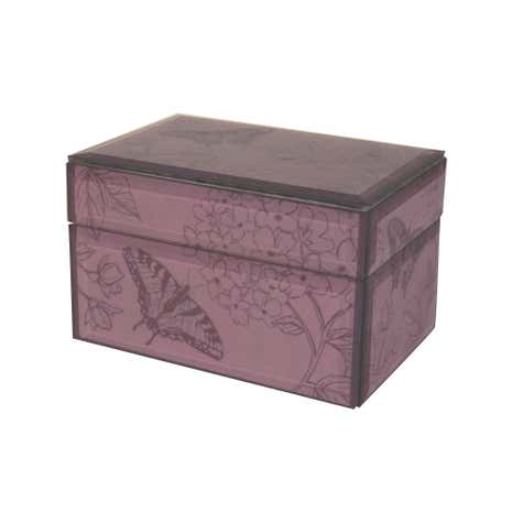 Mauve Glass Floral Printed Jewellery Box