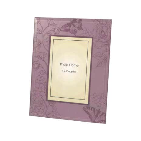Mauve Glass Floral Printed Photo Frame