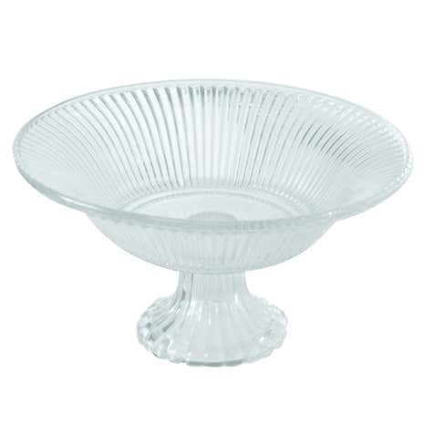 Clear Glass Footed Ridged Bowl