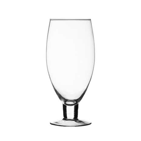 Clear Glass Footed Vase