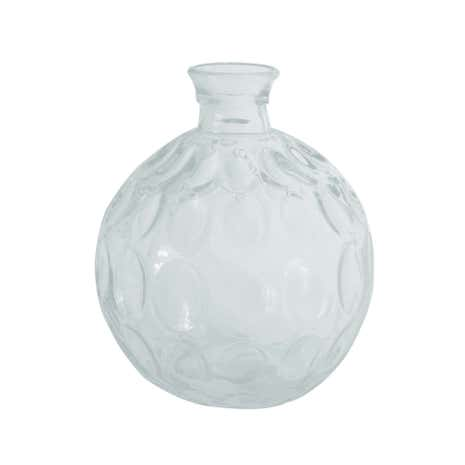 Clear Glass Round Dimple Vase