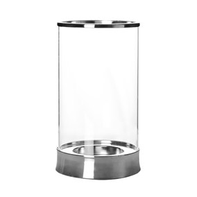 Hotel Metal and Glass Hurricane Vase