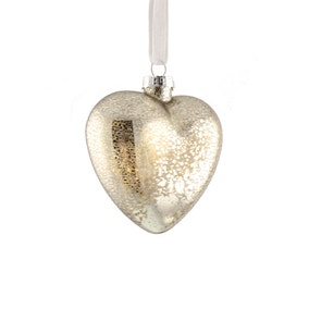 Gold Mercury Glass Hanging Heart