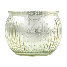 Gold Mercury Glass Ribbed Tealight Holder
