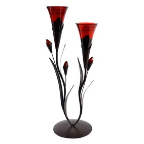 Red Double Flower Tea Light Holder