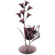 Mauve Flower Butterfly Tea Light Holder
