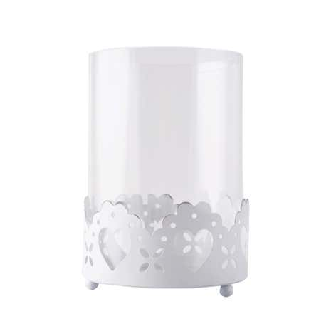 White Metal Heart Cut Out Candle Holder