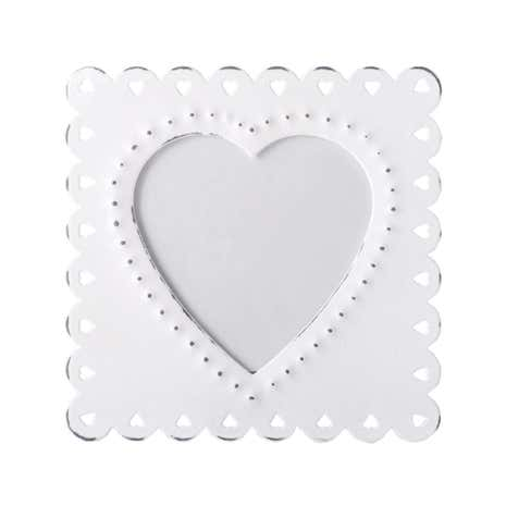 White Metal Cut Out Heart Photo Frame