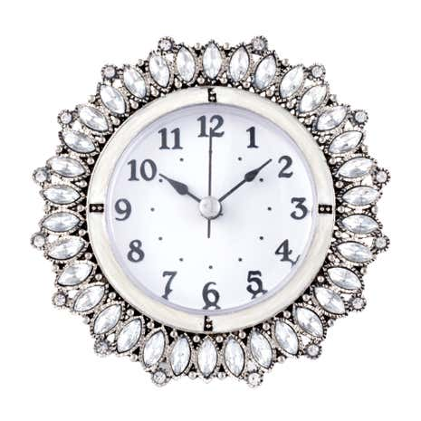 Round Metal Jewelled Clock