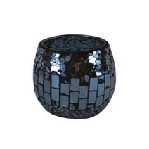 Black Mosaic Glass Tealight Holder