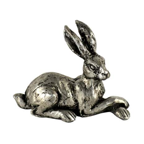 Small Silver Lying Hare Ornament