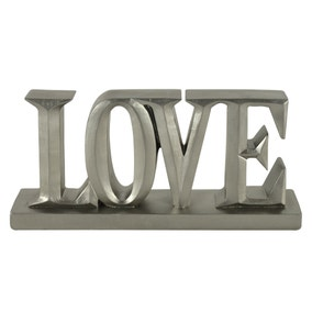 Silver Love Word Ornament