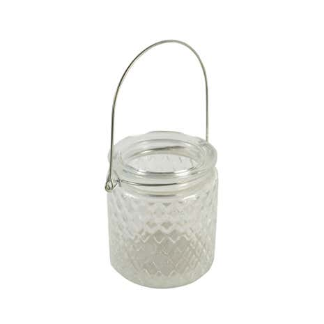 Clear Ribbed Glass Tea Light Holder