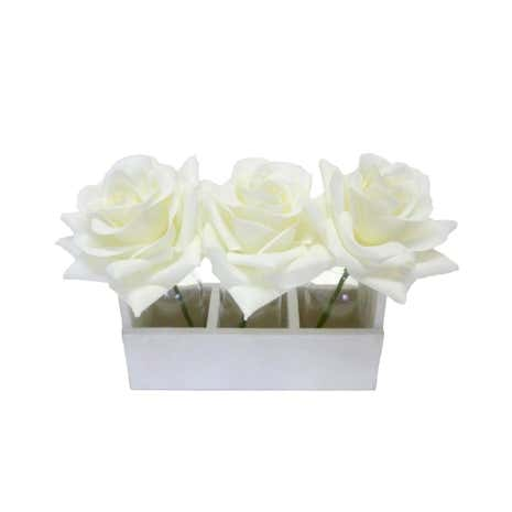 Set of 3 Cream Roses in White Crate