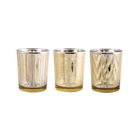 Set of 3 Gold Glass Tealight Holders