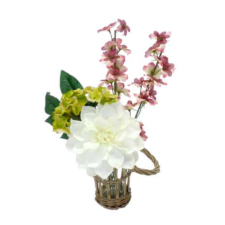 White Dahlia and Florals in Wicker Vase
