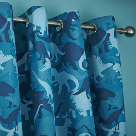 Dino Camo Teal Blackout Curtains