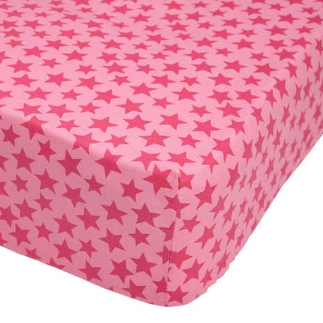 Ditsy Star Pink 25cm Fitted Sheet