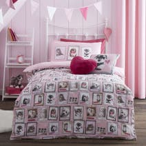 Fluffy Friends Pink Duvet Cover Set