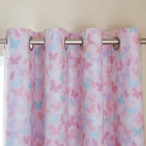Pink Maisie Heart Blackout Eyelet Curtains