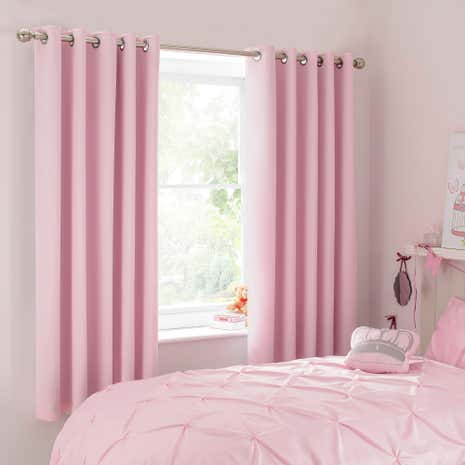 Mia Pink Blackout Eyelet Curtains. Childrens Curtains Blinds Dunelm