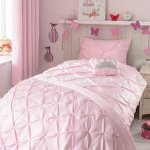 Pink Mia Pintuck Quilt Cover Set