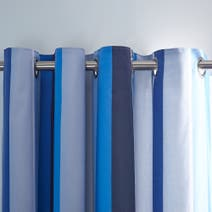Blue Ollie Stripe Blackout Eyelet Curtains
