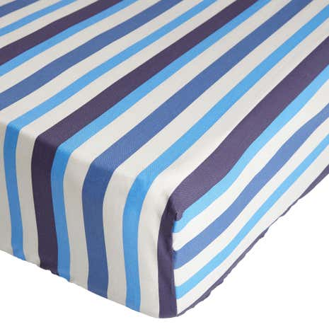 Ollie Blue Stripe 25cm Fitted Sheet