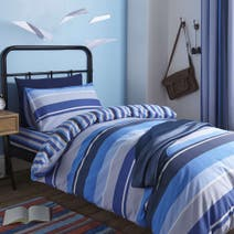 Blue Ollie Stripe Duvet Cover Set