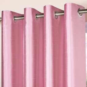 Pink Faux Silk Blackout Eyelet Curtains